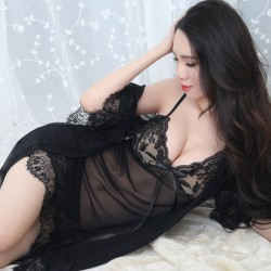Sexy Robe Mesh Sling Pajamas Lace Bow Nightdress Women's Lingerie