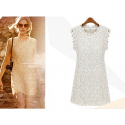 New Sexy Hollow Out Lace Sleeveless Dress