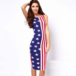 Unique American Flag Stars Stripeds Printed Sleeveless Dress