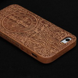Retro Totem Cross Carved Wood Iphone 4/5/6 Case
