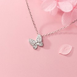 Romantic Gift Animal Jewelry Mini Butterfly Pendant 925 Silver Necklace