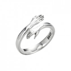 Romantic Valentine's Day Present Creative Lover Hug Couple Embrace Silver Open Ring