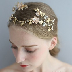 Cute Asymmetric Handmade Flower Leaves Pearl Bridal Baroque Style Queen Crown Headdress Hair Accessories