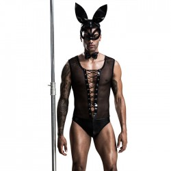 Sexy Bow Tie Rabbit Teddy Mens Lingerie Face Mask Nightclub Show Gay Uniforms Perspective Bodysuit Men's Lingerie