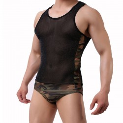 Sexy Splice One Piece Conjoined Bodysuit Lingerie For Men Mesh Camouflage Black Tank Tops