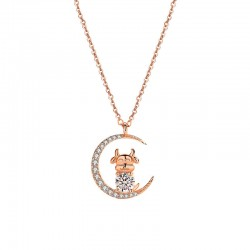 Cute Rhinestone Moon Stars Cow Animals Cattle Pendant Rose Gold Silver Necklace