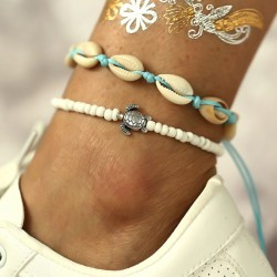Retro Beach Turtle Shell Bead Sliding 2 Piece Set Summer Women's Anklet