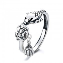 Vintage Fish Kiss Lotus Tassel Pandent Adjustable Size Open Ring For Women Animal Rings