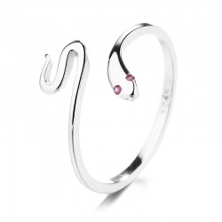 Cute Adjustable Snake Cool Rings 925 Silver Minimalist Snake Animal Finger Ring for Women Wrap Open Rings