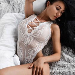 Sexy Hollowed-out Embroidery Front And Back Crossover Straps Jumpsuits Women's White Lace Mesh Lingerie