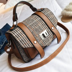 Leisure Double Buckle Girl's PU Splicing Plaid Woolen Belt Flap Shoulder Bag