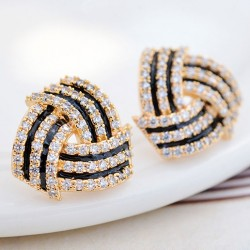 Fashion Shining Diamond-bordered Stratified  Spiral Geometric Silver Women Earring Studs