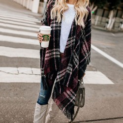 Leisure Contrast Color Lattice Tassel Shawl Knitting Coat Sweater