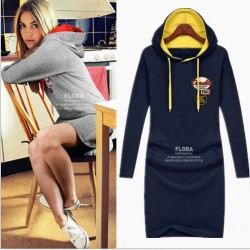 Casual Hooded Front Pocket Long Sleeve Cotton Dress