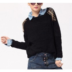 Retro Style Rivets Loose Bat Sleeve Sweater&Cardigan
