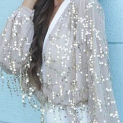 Sexy Sequin Shiny Glitter Sparkle V-Neck Long Sleeve Bodycon Dress