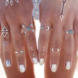 Vintage Silver Joint Knuckle Nail Midi Ring Personality Set of 6 Rings
