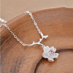 Fresh Branch Leaf Flower Cherry Pendant Silver Jewelry Necklace
