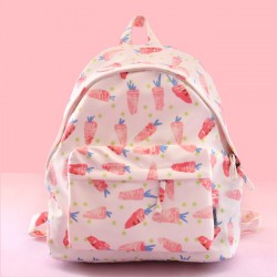 Fresh Waterproof Youth Carrot Triangle Cat Leaves Printing School Bag Student Backpack