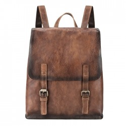 Retro Double Buckle Handmade Cowhide Travel Backpack Leather Large Capacity Student Backpack