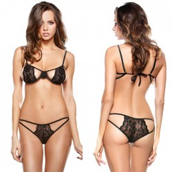 Sexy Black Lace Bra Set Sling Intimate Lady's Lingerie