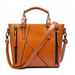 Fashion Geometry Stitching Leather Embossed Handbag&Shoulder Bag