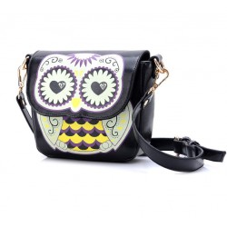 Cartoon Owl Floral Print Shoulder Bag