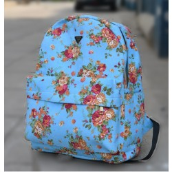 Fashion Style Rose Print Canvas Backpack