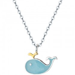 Cute Blue Whale Fish Dolphin Pendant Women Silver Animal Pendant Jewelry Necklace