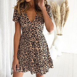 Leisure V-neck Leopard Print Short Sleeves Ruffled Women's Dress