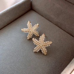 Elegant Cute Starfish Inlay Pearl Ocean Jewelry For Her Summer Silver Women's Earring Studs