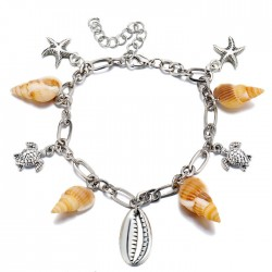 Creative Conch Metal Shell Pendant Bracelet Turtle Women Anklet