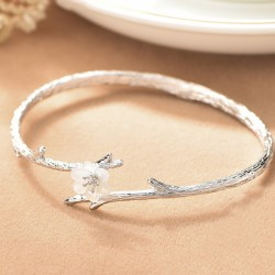 Retro Silver Flower Cherry Imitating Branch Lines Circular Ring Shell Open Bracelet