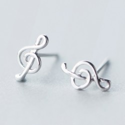 Sweet Women's Music Beauty of Line Silver Music Notes Earring Studs