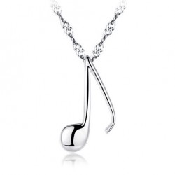 Cute Silver Clavicle Chain Music Note Shape Pendant Women Necklace