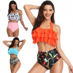 Sexy Ruffle High Waist Swimsuit Flower Sling New Women Summer Bikinis