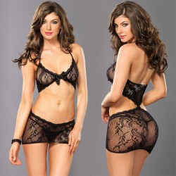 Sexy Black Bow Lace Bra Set Hollow Flower Intimate Women Lingerie