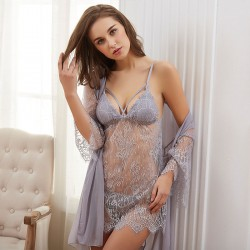 Sexy Nightgown Robe Nightdress Pajamas Hollow Lace 3 piece Set T-pants Women Intimate Lingerie