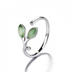Fresh Green Young Leaves Ring Cute Opal Women Open Ring