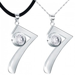 Sterling Silver Number Seven Couple Pendant