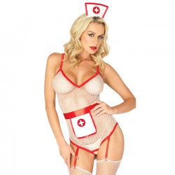 Sexy Nurse Cosplay Open Perspective Fish Net Uniform Temptation Conjoined Women Lingerie