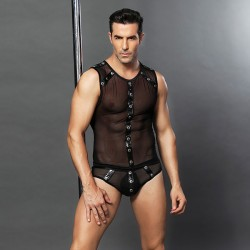 Sexy Perspective Bar Performance Clothing Rivet Uniform Temptation Man Conjoined Lingerie
