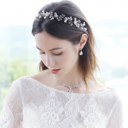 Fashion Beautiful Flower Pearl Branch Handmade Beaded Headband Wedding Hair Accessories