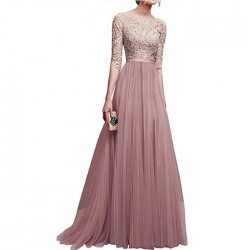Elegant Middle Sleeves Lace Party Dresses Prom Skirt Chiffon Long Evening Dress