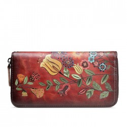 Retro Colorful Flower Bird Leaves Branch Embossing Wallet  Large Phone Clutch Bag Vintage Large Long Purse