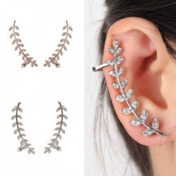 Unique Design Leaves Branches Rhinestone Earrings Girl's Gift Ear Clips