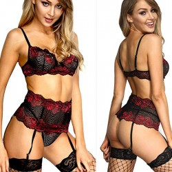 Sexy New Hot Lace Hollow High Waist Bra Set Underwear Spicy Women's Intimate Lingerie