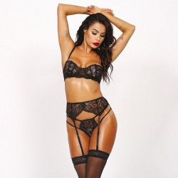 Sexy Floral Black Lace Bodysuit For Women Bra Panty Garter Belt 3 Piece Set Halter Underwear Lingerie