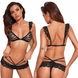 Sexy Black Lace Hollow Leaves Lace Bra Set Underwear Intimate Women's Lingerie
