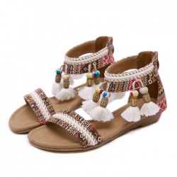 Folk Bohemia Beaded Tassel Beach Flats Summer Shoes Women's Roman Sandals